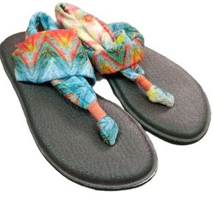 Sanuk Stretchy Thong Sandals Womens Size 6